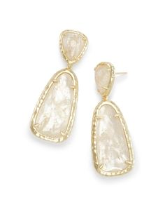 5cb4f93a1 Made with Swarovski Crystal 18K Gold Filled Ivory Stone Drop Earrings
