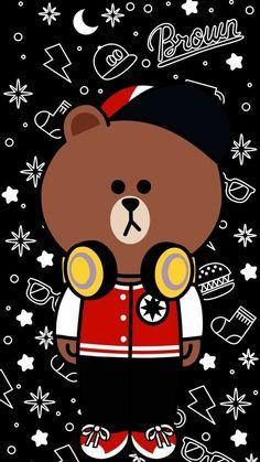 Stripe Iphone Wallpaper, Kaws Iphone Wallpaper, Lines Wallpaper, Brown Wallpaper, Wallpaper Space, Bear Wallpaper, Wallpaper Backgrounds, Line Brown Bear, Cute Panda Drawing