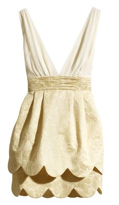 Beige V Neck Ruffles Party Dress $47 >> Love this, so sweet and pretty... Now I just need a place to wear it!