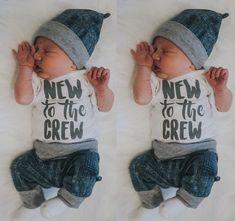 Baby Boy Girl 3pcs Clothes Jumpsuit Romper Long Pants Hat Outfit Set $14.99