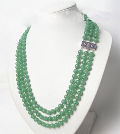 3row 8mm 100% nature round green jades necklace