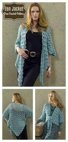 Zen Lace Jacket Free Crochet Pattern #Crochet #Freepattern #Lace