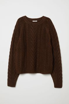 Soft cable-knit sweater with wool content. Long raglan sleeves and ribbing at neckline, cuffs, and hem. Brown Sweater, Men Sweater, Tribal Sweater, Hipster Sweater, Yellow Sweater, Drake Hoodie, Lady, Swaggy Outfits, Neue Outfits