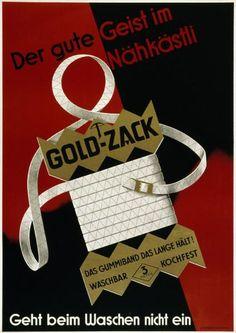 Der gute Geist im Nähkästli - Gold-Zack - Das Gummiband das lange hält! Waschbar - Kochfest - Geht beim Waschen nicht ein-Plakat