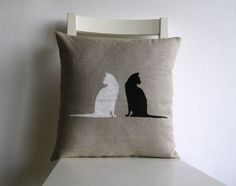 White cat Black Cat  print 16 x 16 linen cushion cover by pillow1, $21.00