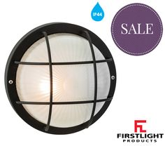 Firstlight 'Court' IP44 Single Outdoor Wall/Ceiling Light, Black Finish With Frosted Glass - 3425BK None