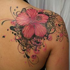 BEAUTIFUL TATTOOS | ... Picture of Beautiful Pink and Black Hibiscus Flower Tattoo on Shoulder