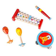 Band In A Box Musical Instruments For Toddlers  Kids  Wooden Baby Music Toys  Xylophone Maracas Recorder  Tambourine Percussion Instruments *** Be sure to check out this awesome product. (This is an affiliate link)