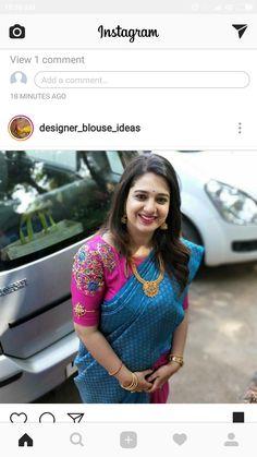 Blouse Saree Blouse Neck Designs, Saree Blouse Patterns, Designer Blouse Patterns, Blouse Models, Indian Designer Wear, Instagram, Clothes For Women, Chiffon Blouses, Work Blouse