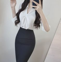 Korean Fashion Dress, Kpop Fashion Outfits, Ulzzang Fashion, Korean Outfits, Mode Outfits, Fashion Dresses, Casual Work Outfits, Professional Outfits, Classy Outfits