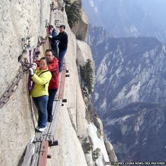 The Chang Kong Cliff Road, in Shaanxi province, was built 700 years ago by hermits looking for immortals they believed were living deep in the mountains
