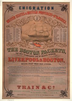 1860's Emigration to the United State Poster / Broadside