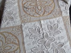 Antique Beige Filet Lace Linen Tablecloth with Handmade Beige Embroidery. Cutwork Linen and Filet Lace.Antique 1930s.