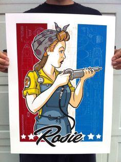 Rosie the Riveter tribute screen print. #Rosie #RosietheRiveter