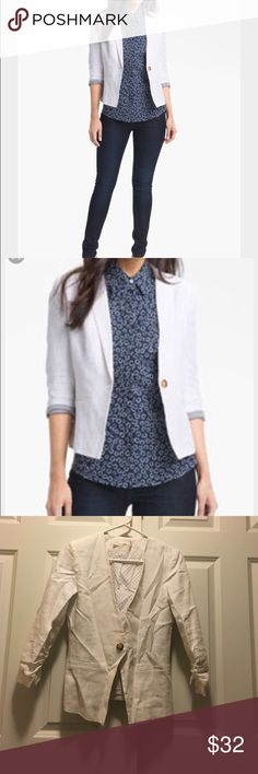 White Gibson blazer Super cute white cotton blazer with linen polka dot lining. Purchased at Nordstrom. No size on the tag but it's a S. Gibson Jackets & Coats Blazers