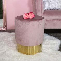 Furniture Home & Garden Lower Price with Palm Green Velvet Upholstered Stool Copper Hairpin Legs Girly Bedroom Boudoir