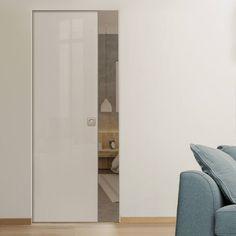 Eclisse 10mm Gloss White Colour Glass Syntesis Pocket Door - 9010.    #pocketglassdoor  #glassdoor  #framelessglassdoor Glass Pocket Doors, Glass Door, Architrave, Creative Design, Tall Cabinet Storage, Colour, Furniture, Home Decor, Home