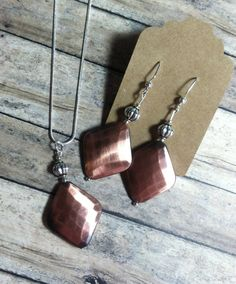 Copper and Silver Necklace & Earring Set (#NS002)