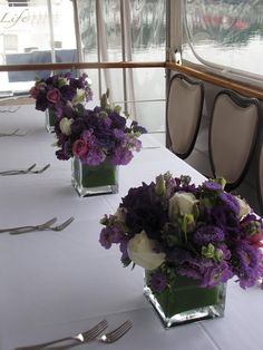 White, Purple and Lavender Centerpieces