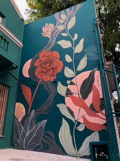 Mural Floral, Flower Mural, Flower Wall, Flower Graffiti, Murals Street Art, Street Wall Art, Mural Wall Art, Mural Painting, Wall Painting Flowers