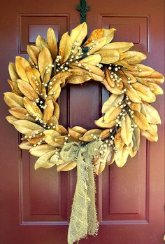 Fall Magnolia Leaf Wreath-thought: what about metallic spray?