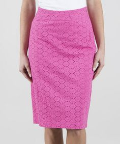 Another great find on #zulily! Pink Fuchsia Eyelet Pencil Skirt by Down East Basics #zulilyfinds