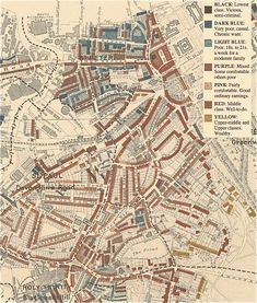 Charles Booth's map of London poverty, Classic data mapping. Sorry, Greenwich. Old Maps Of London, London Map, London City, London School Of Economics, Henry Miller, House Map, Ways Of Seeing, Cartography, Family History