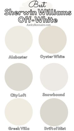 My Favorite Sherwin Williams Off White Paints - Aseky + Co. My Favorite Sherwin Williams Off White Paints Off White Paint Colors, Off White Paints, Paint Colors For Home, Cream Paint Colors, Off White Color, Furniture Paint Colors, Light Paint Colors, Trim Paint Color, Best Neutral Paint Colors
