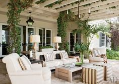 Garden room patio The outdoor living room. Upholstered seating and a nice rustic-y coffee table to balance it all. From Architectural Digest. Architectural Digest, Ikea Outdoor, Outdoor Areas, Outdoor Decor, Outdoor Seating, Rustic Outdoor, Outdoor Life, Outdoor Lamps, Outdoor Ottomans
