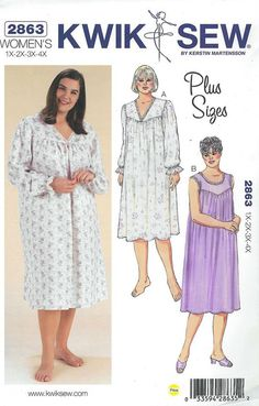 Kwik Sew 3343 Misses Nightgown Pattern Scoop Or Square