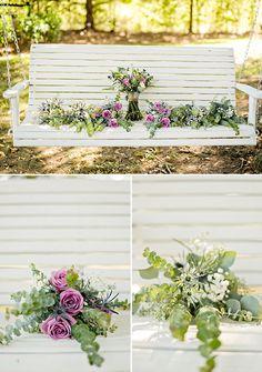 purple and cream flower bouquets @weddingchicks