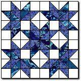 "Heavenly Stars Block 16"" block http://www.quilterscache.com/H/HeavenlyStarsBlock.html"