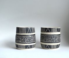 B L A C K S T O N E : set of ceramic tumblers on Etsy, $42.00