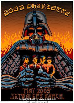 Good Charlotte, May 2005 at Skywalker Ranch.  Silkscreen Concert Poster by Emek. #starwars #darthvader