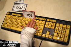 Students can practice typing sight words on a keyboard (found these at the Dollar Tree)