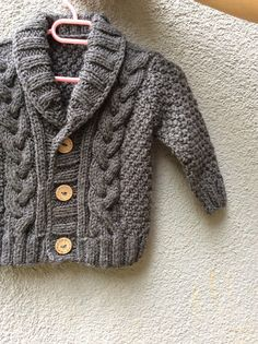 Grey Knitted Baby Cardigan, Baby Boy Cable Sweater Coat, Cute Hand Knit Newborn Boy Coming Home Outfit Clothes, New Born Baby Knitwear, Gift Knit Baby Sweater Hand Knitted Grey Baby Cardigan Gray Baby [br]