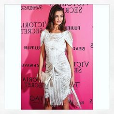 Taylor Hill wearing SS12 Marchesa Beaded Dress for the Pink Carpet after party of the Victoria Secret fashion show 2015