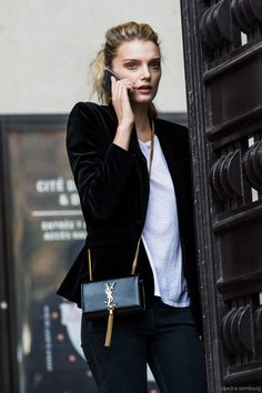 White tee with a black velvet blazer.
