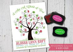 LDS Baptism Guest Thumbprint Tree with by PocketFullofPixels, $13.50