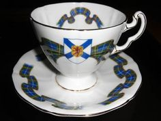 Nova Scotia Tartan tea cup and saucer--what I am drinking Plein Lune tea from now.