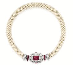 Art Deco Ruby, Diamond and Seed Pearl Necklace, Mauboussin, Circa 1930