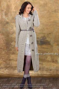 dámský ručně pletený kabát z příze Semira