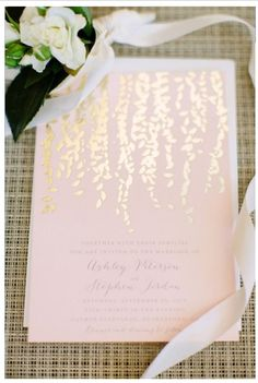 Foil-stamped Invitation This metallic look stems from the gold/copper trend. It's a festive and fun style for stationery.