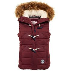 Superdry Marl Toggle Puffle Gilet ($93) ❤ liked on Polyvore featuring outerwear, vests, red, women, quilted puffer vest, puffer vest, red vest, red puffer vest and zipper vest