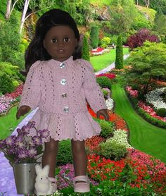 "Ravelry: American Girl 18"" doll Lacy Knit Jacket with Skirt pattern by Ase…"