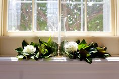 Simple church window wedding decoration mother of the bride magnolia leaves in windows junglespirit Gallery