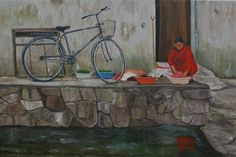 """""""Chinese Wash Day"""" painting by Patricia Thomas"""