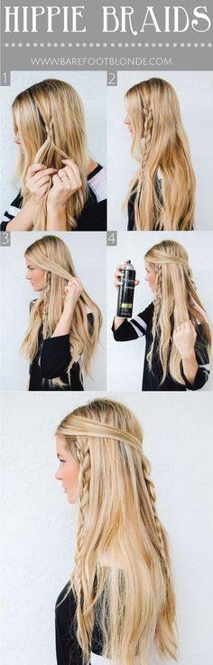Cute, Easy Braided Hairstyle Tutorial for Long Hair: Hippie Braids