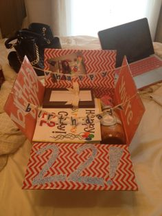 Birthday Care Package : Cody got 2 for his birthday since it was his 22nd Birthday! This one had all his birthday presents in it, some birthday cards from my roommates and girls at my work.