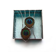 Stained Glass Box Real Peacock Feathers Nature Art by neile, $155.00